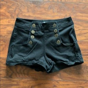 Express Black Shorts with Buttons